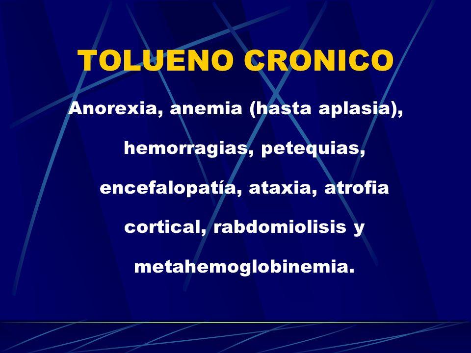 TOLUENO CRONICO Anorexia, anemia (hasta aplasia), hemorragias, petequias, encefalopatía, ataxia, atrofia cortical, rabdomiolisis y metahemoglobinemia.