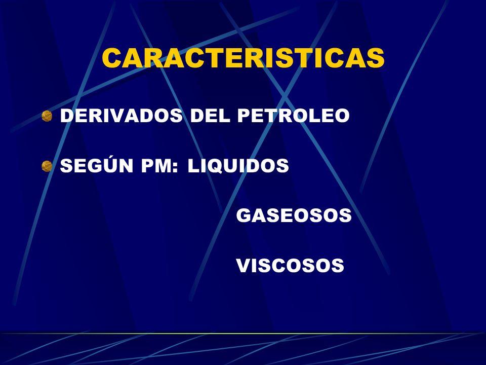 CARACTERISTICAS DERIVADOS DEL PETROLEO SEGÚN PM:LIQUIDOS GASEOSOS VISCOSOS