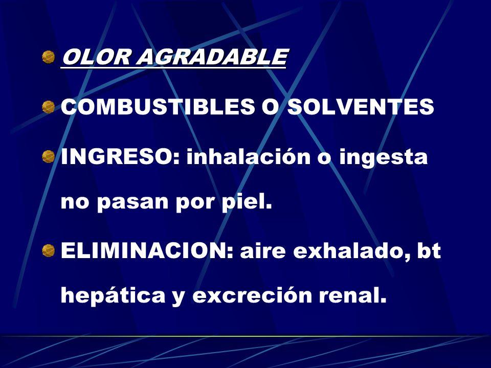 OLOR AGRADABLE COMBUSTIBLES O SOLVENTES INGRESO: inhalación o ingesta no pasan por piel. ELIMINACION: aire exhalado, bt hepática y excreción renal.