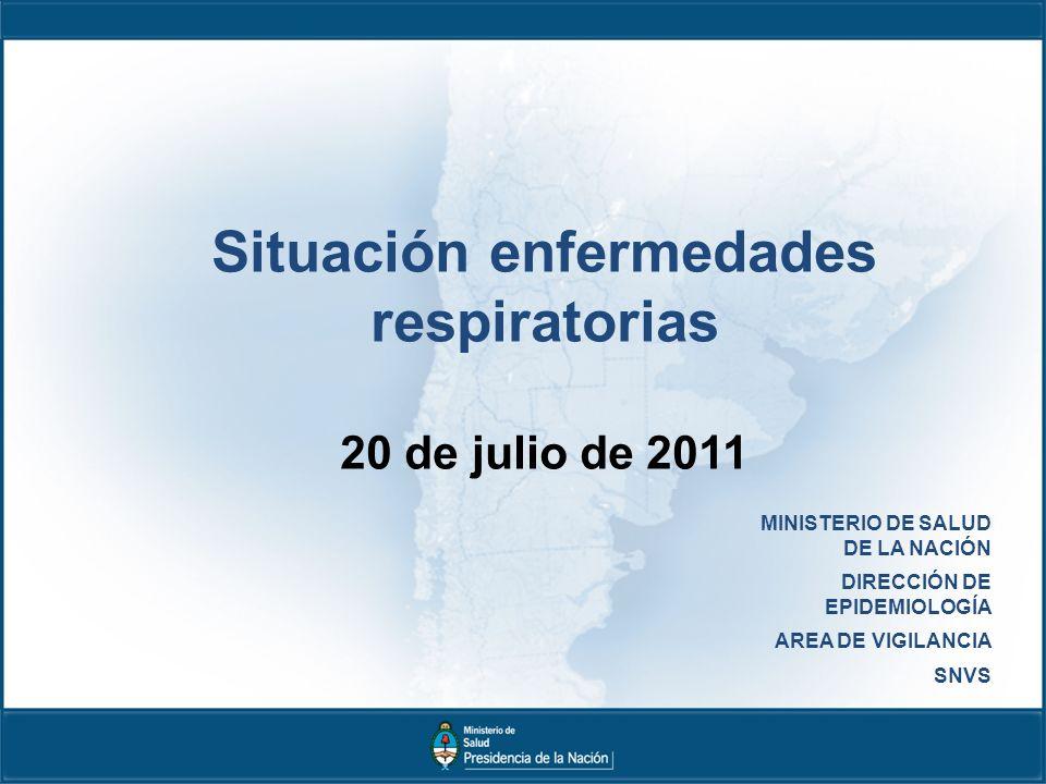 MINISTERIO DE SALUD DE LA NACIÓN DIRECCIÓN DE EPIDEMIOLOGÍA AREA DE VIGILANCIA SNVS Situación enfermedades respiratorias 20 de julio de 2011