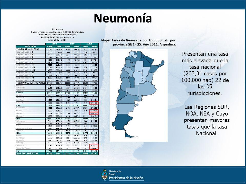 Neumonía Mapa: Tasas de Neumonía por 100.000 hab.por provincia.