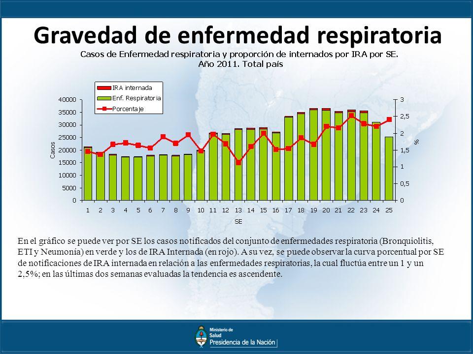 Gravedad de enfermedad respiratoria En el gráfico se puede ver por SE los casos notificados del conjunto de enfermedades respiratoria (Bronquiolitis, ETI y Neumonía) en verde y los de IRA Internada (en rojo).