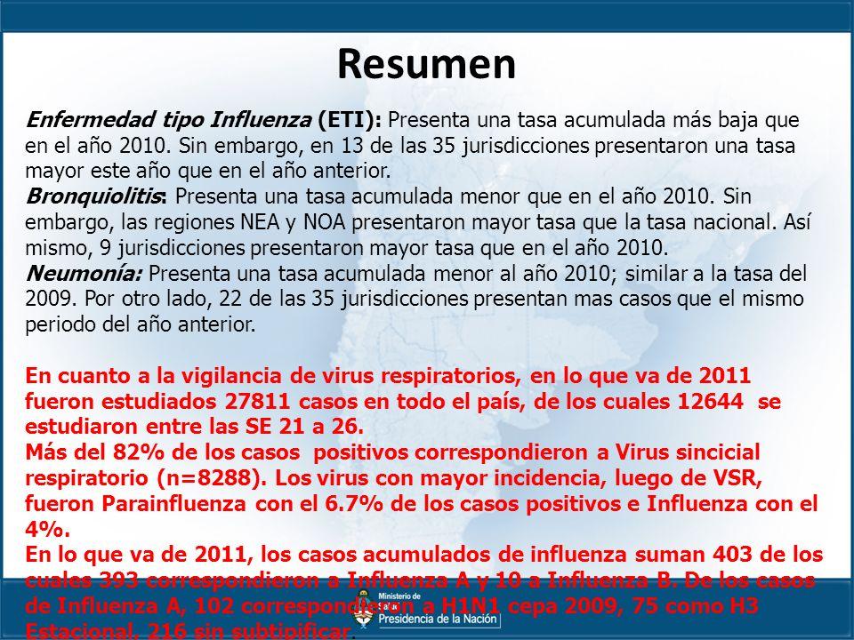 Resumen Enfermedad tipo Influenza (ETI): Presenta una tasa acumulada más baja que en el año 2010.