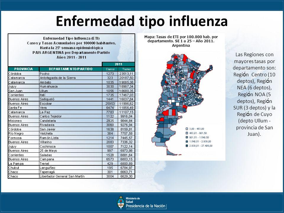 Enfermedad tipo influenza Mapa: Tasas de ETI por 100.000 hab.