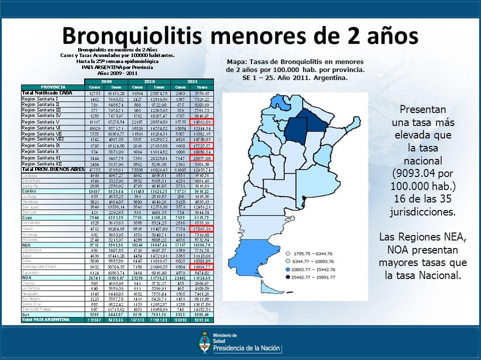 Bronquiolitis menores de 2 años Mapa: Tasas de Bronquiolitis en menores de 2 años por 100.000 hab.