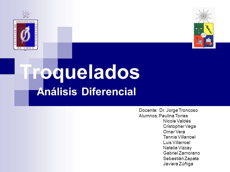 Troquelados Análisis Diferencial Docente: Dr. Jorge Troncoso Alumnos: Paulina Torres Nicole Valdés Cristopher Vega Omar Vera Tannia Villarroel Luis Vi