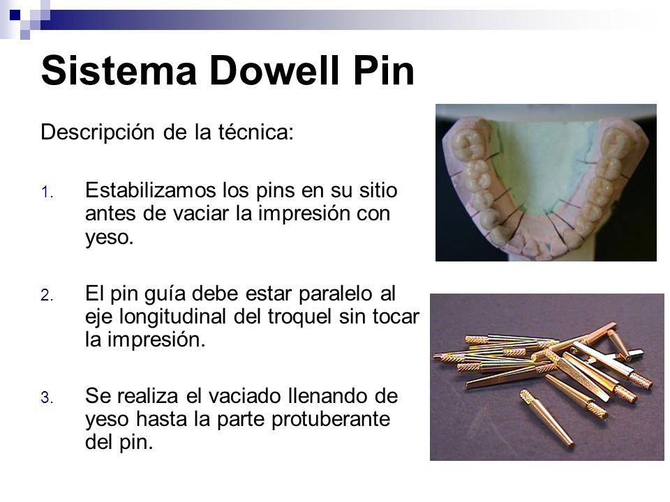 Sistema Dowell Pin Descripción de la técnica: 1. Estabilizamos los pins en su sitio antes de vaciar la impresión con yeso. 2. El pin guía debe estar p