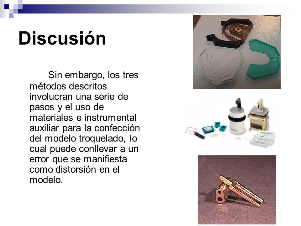 Discusión Sin embargo, los tres métodos descritos involucran una serie de pasos y el uso de materiales e instrumental auxiliar para la confección del