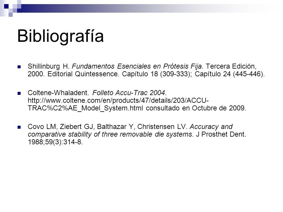 Bibliografía Shillinburg H. Fundamentos Esenciales en Prótesis Fija. Tercera Edición, 2000. Editorial Quintessence. Capítulo 18 (309-333); Capítulo 24