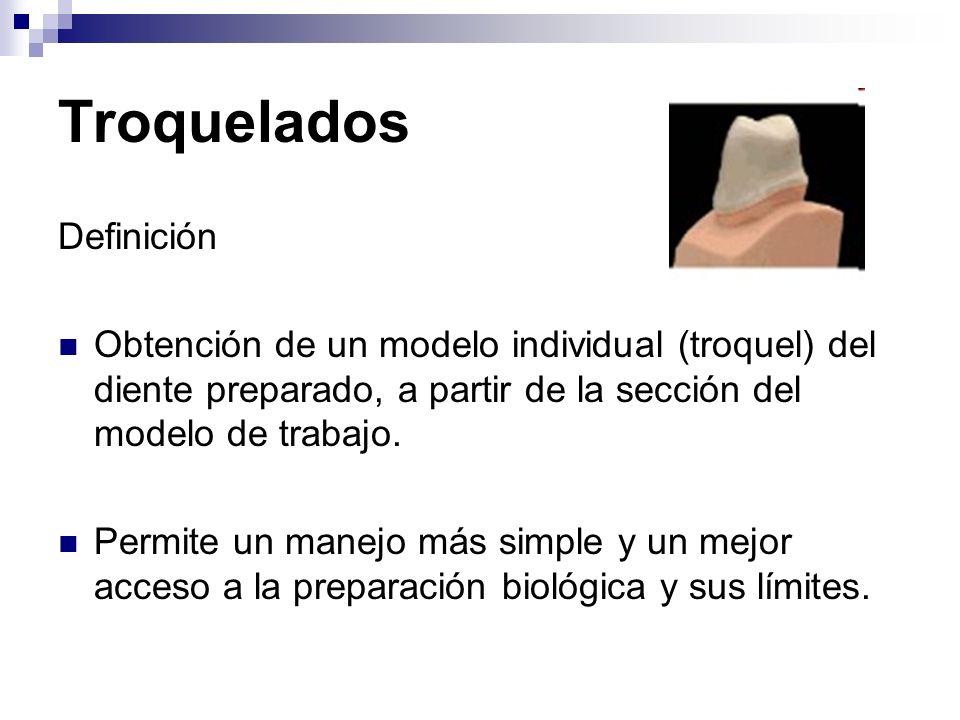 Troquelados Definición Obtención de un modelo individual (troquel) del diente preparado, a partir de la sección del modelo de trabajo. Permite un mane