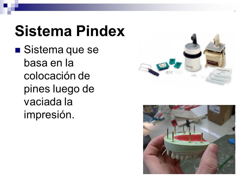 Sistema Pindex Sistema que se basa en la colocación de pines luego de vaciada la impresión.