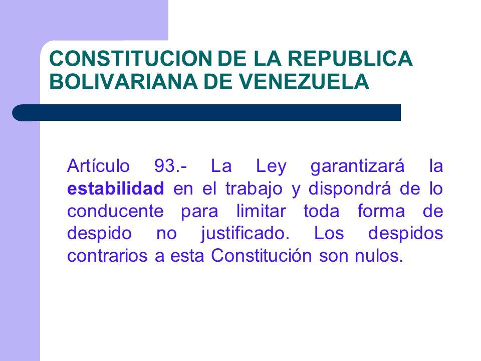La ESTABILIDAD EN LA LEY ORGÁNICA DEL TRABAJO.Artículo 112.