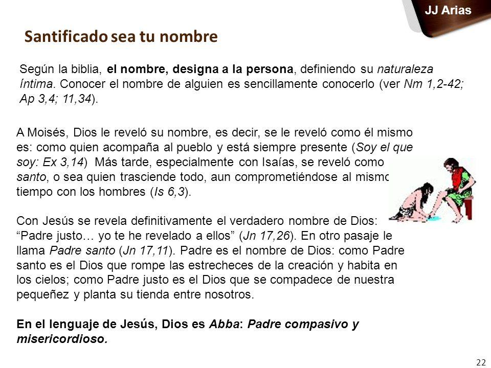 Santificado sea tu nombre 22 JJ Arias Según la biblia, el nombre, designa a la persona, definiendo su naturaleza íntima. Conocer el nombre de alguien
