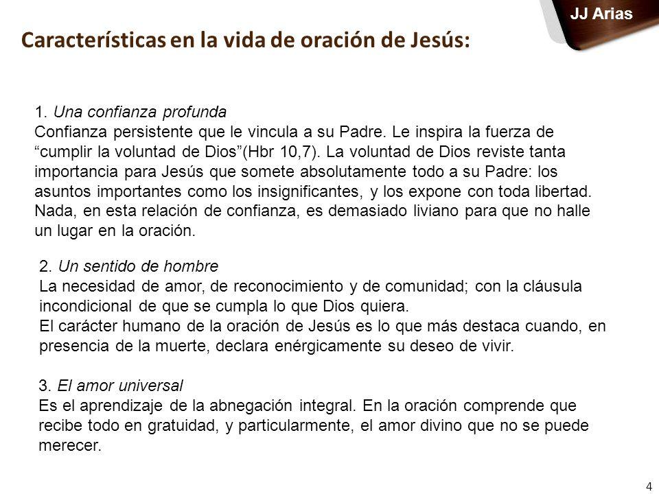 Características en la vida de oración de Jesús: 4 1. Una confianza profunda Confianza persistente que le vincula a su Padre. Le inspira la fuerza de c