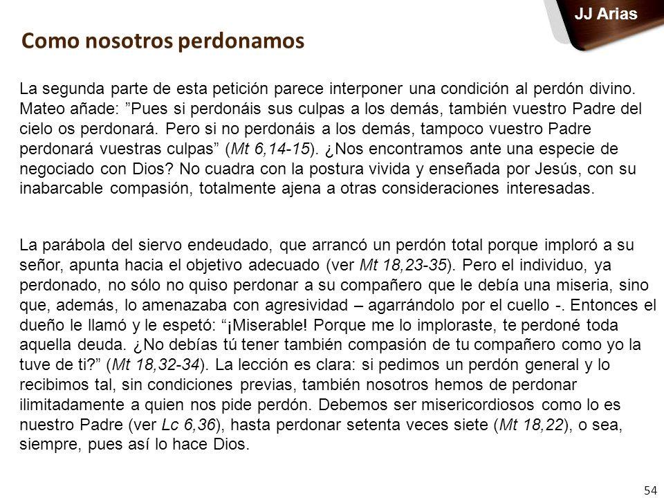 54 JJ Arias La segunda parte de esta petición parece interponer una condición al perdón divino. Mateo añade: Pues si perdonáis sus culpas a los demás,