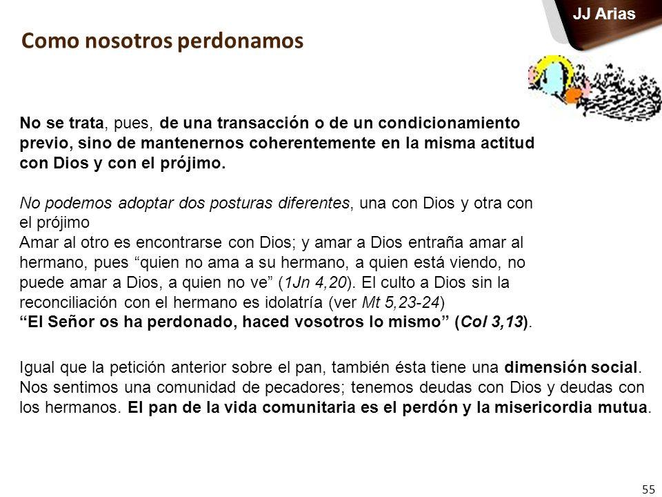 55 JJ Arias No se trata, pues, de una transacción o de un condicionamiento previo, sino de mantenernos coherentemente en la misma actitud con Dios y c