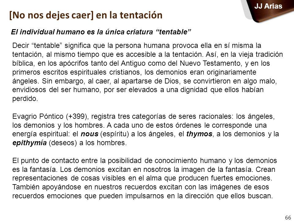 66 JJ Arias Decir tentable significa que la persona humana provoca ella en sí misma la tentación, al mismo tiempo que es accesible a la tentación. Así