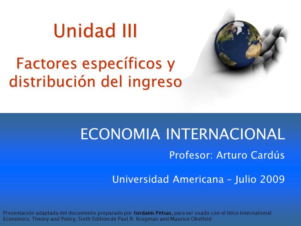 Lámina III-2 Introducción El Modelo de Factores Específicos (MFE) Comercio Internacional con el MFE Distribución de los Ingresos y las Ganancias del Comercio La Economía Política del Comercio: Una mirada preliminar Resumen Organización de la Unidad