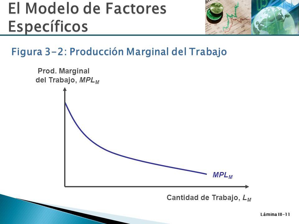 Lámina III-11 MPL M Cantidad de Trabajo, L M Prod. Marginal del Trabajo, MPL M El Modelo de Factores Específicos Figura 3-2: Producción Marginal del T