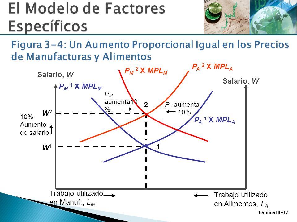 Lámina III-17 W1W1 1 P F aumenta 10% Salario, W P A 1 X MPL A Trabajo utilizado en Manuf., L M Trabajo utilizado en Alimentos, L A 10% Aumento de sala