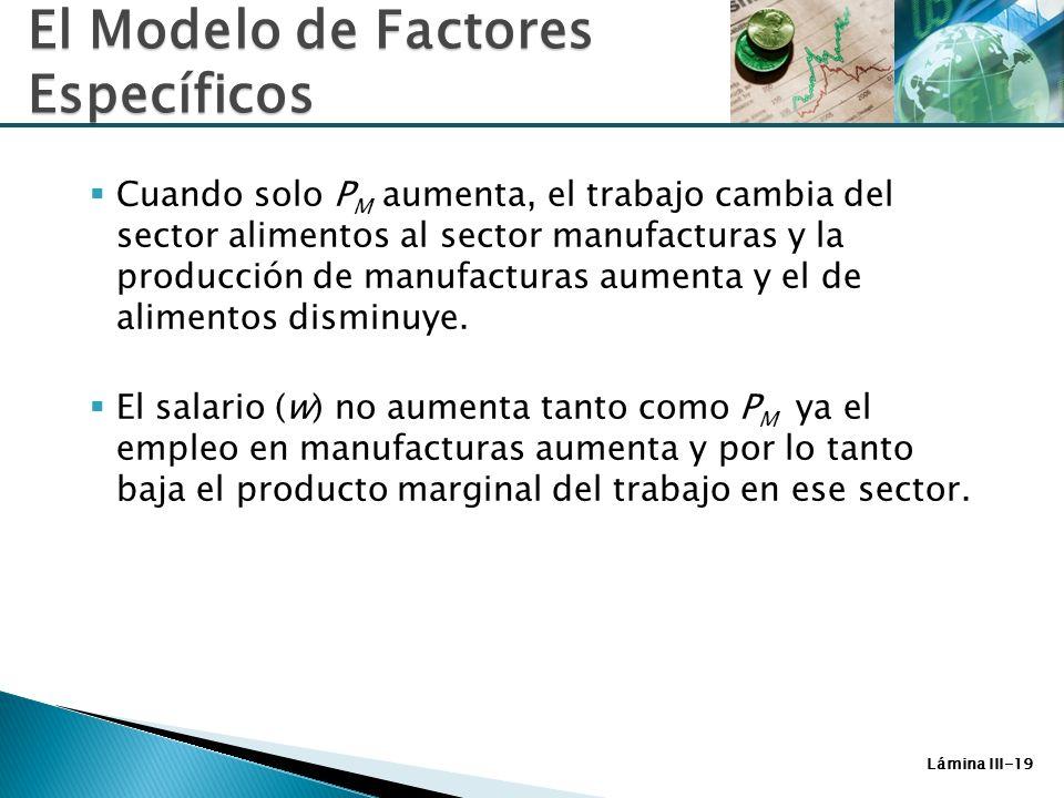 Lámina III-19 Cuando solo P M aumenta, el trabajo cambia del sector alimentos al sector manufacturas y la producción de manufacturas aumenta y el de a
