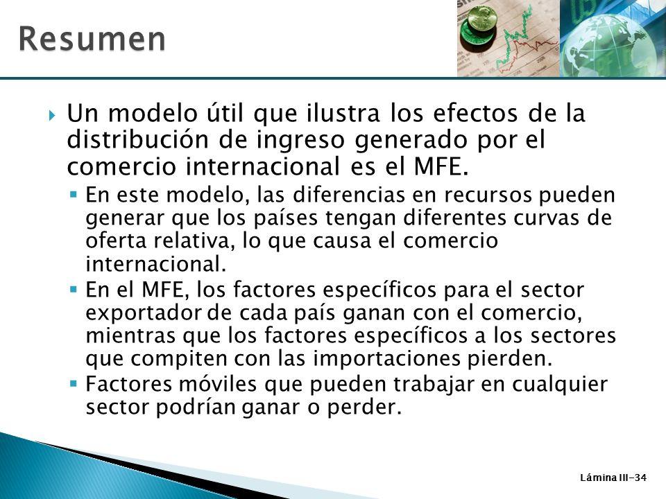 Lámina III-34 Un modelo útil que ilustra los efectos de la distribución de ingreso generado por el comercio internacional es el MFE. En este modelo, l