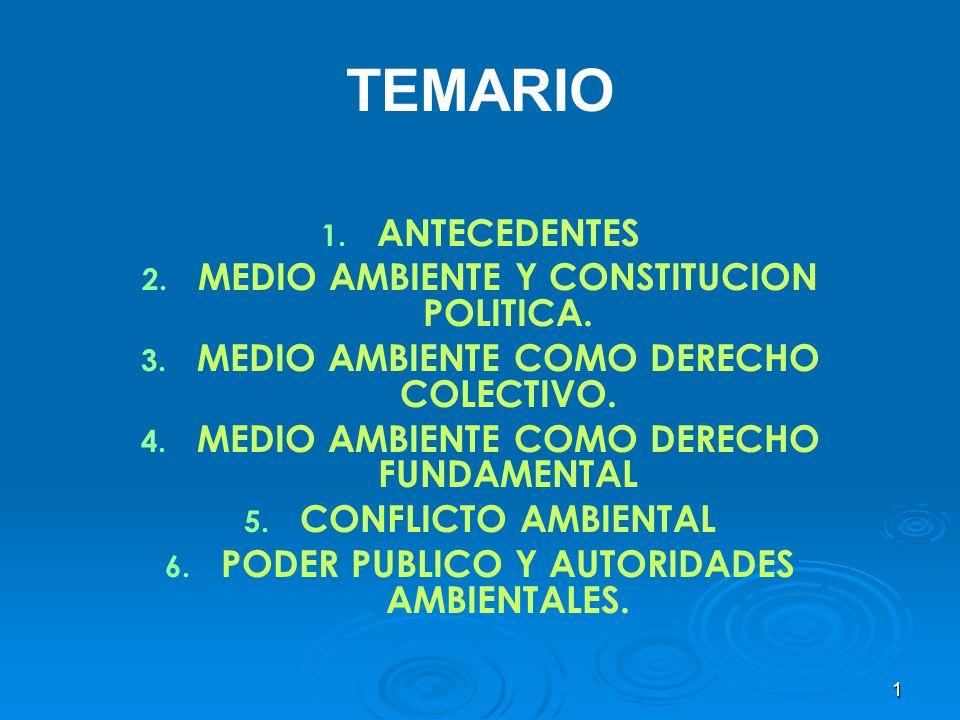 1 TEMARIO 1. 1. ANTECEDENTES 2. 2. MEDIO AMBIENTE Y CONSTITUCION POLITICA. 3. 3. MEDIO AMBIENTE COMO DERECHO COLECTIVO. 4. 4. MEDIO AMBIENTE COMO DERE