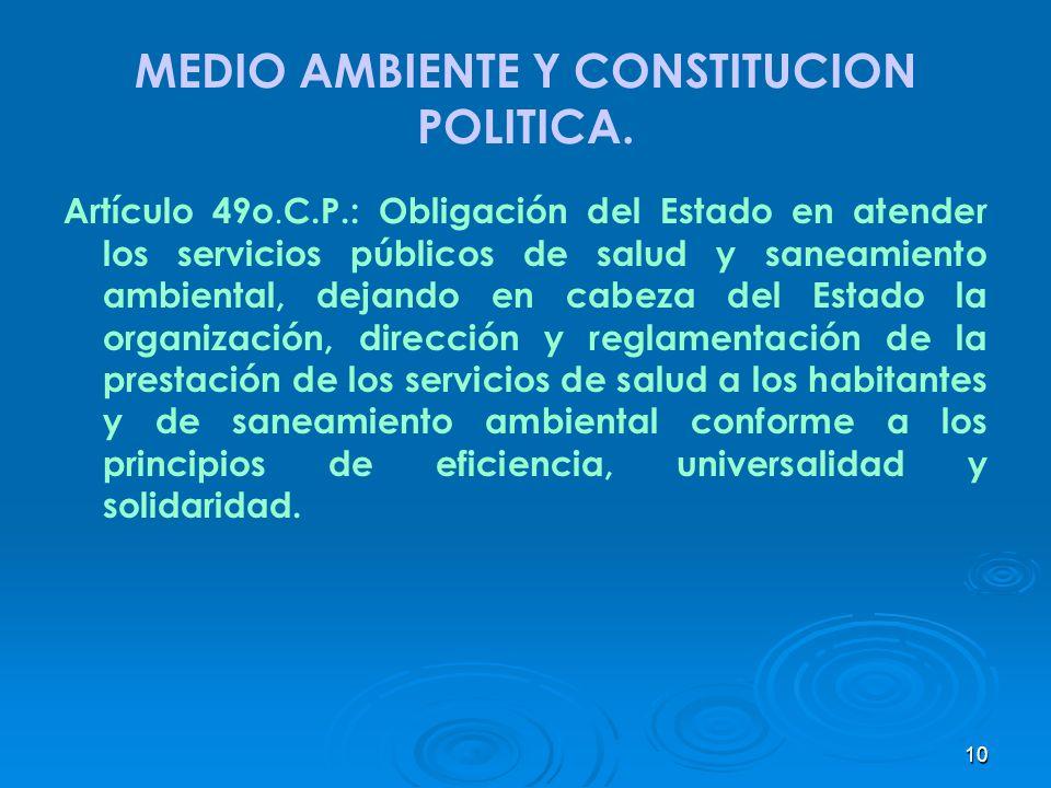 10 MEDIO AMBIENTE Y CONSTITUCION POLITICA. Artículo 49o. C.P.: Obligación del Estado en atender los servicios públicos de salud y saneamiento ambienta