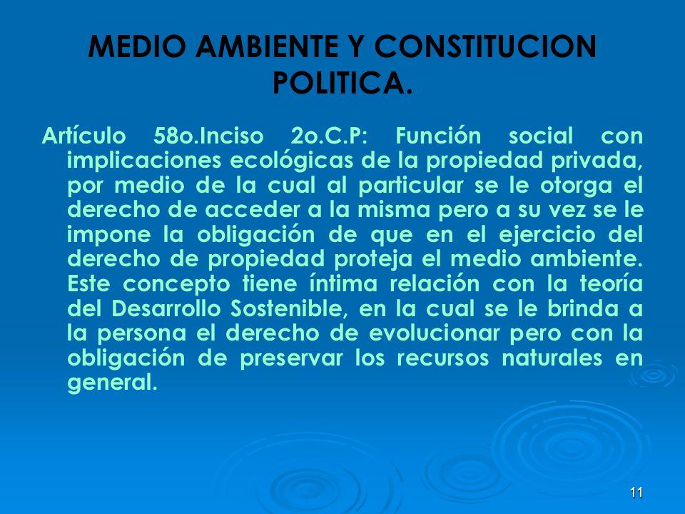 11 MEDIO AMBIENTE Y CONSTITUCION POLITICA. Artículo 58o.Inciso 2o.C.P: Función social con implicaciones ecológicas de la propiedad privada, por medio