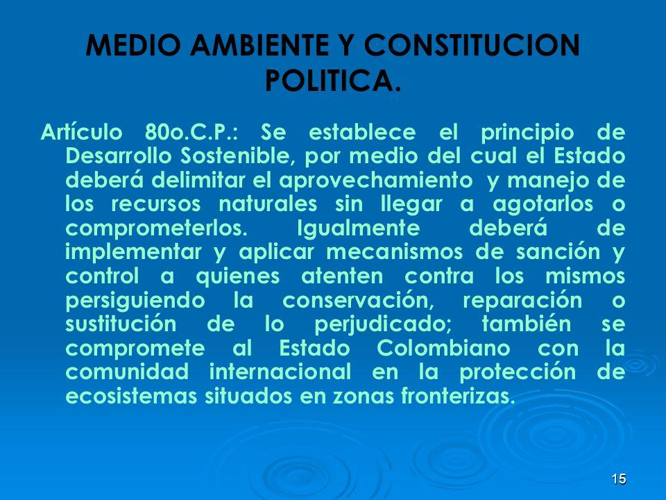 15 MEDIO AMBIENTE Y CONSTITUCION POLITICA. Artículo 80o.C.P.: Se establece el principio de Desarrollo Sostenible, por medio del cual el Estado deberá