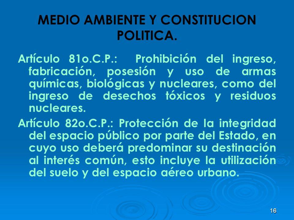 16 MEDIO AMBIENTE Y CONSTITUCION POLITICA. Artículo 81o.C.P.: Prohibición del ingreso, fabricación, posesión y uso de armas químicas, biológicas y nuc