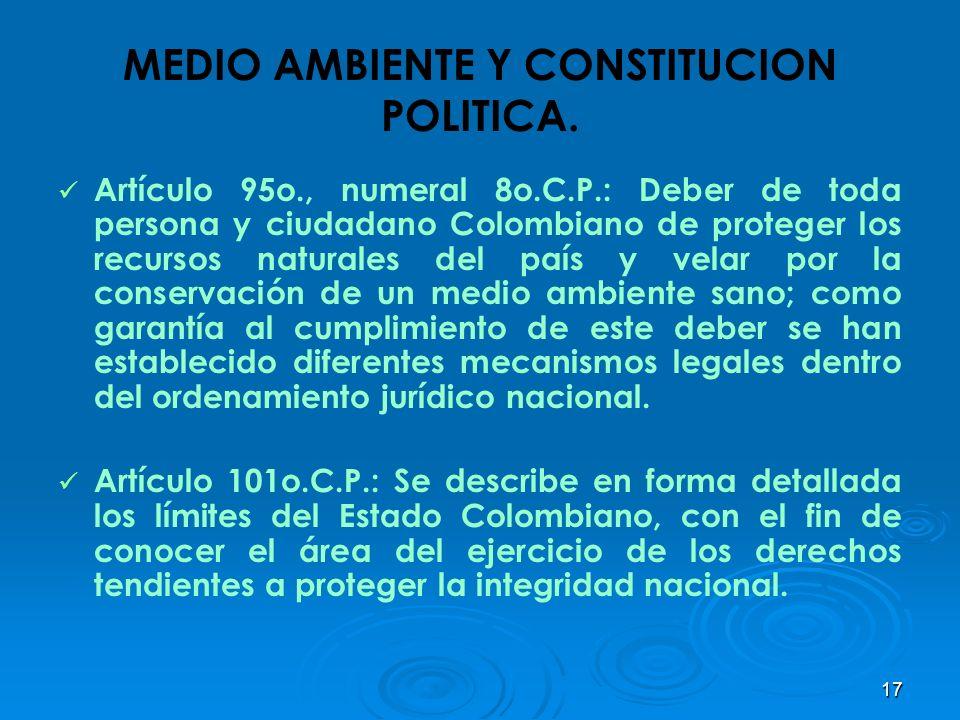 17 MEDIO AMBIENTE Y CONSTITUCION POLITICA. Artículo 95o., numeral 8o.C.P.: Deber de toda persona y ciudadano Colombiano de proteger los recursos natur