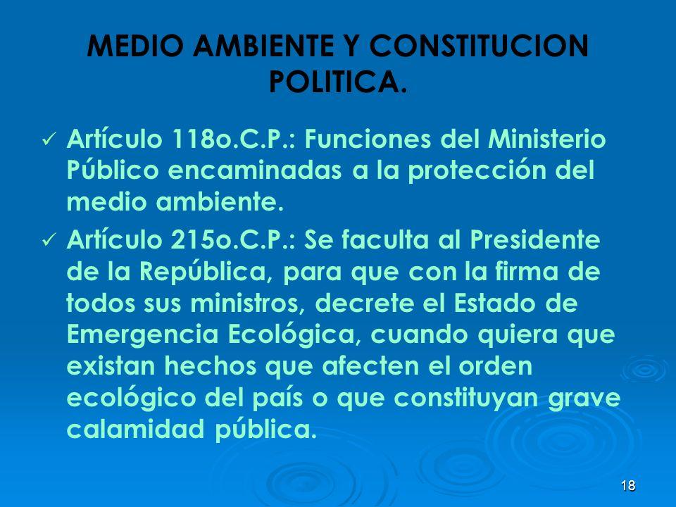 18 MEDIO AMBIENTE Y CONSTITUCION POLITICA. Artículo 118o.C.P.: Funciones del Ministerio Público encaminadas a la protección del medio ambiente. Artícu