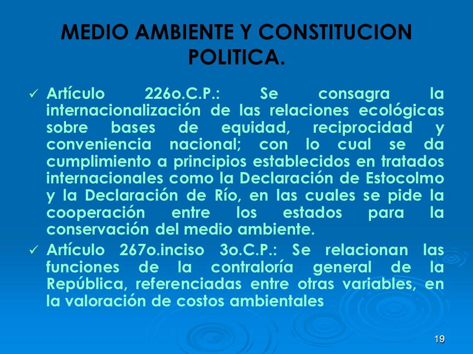 19 MEDIO AMBIENTE Y CONSTITUCION POLITICA. Artículo 226o.C.P.: Se consagra la internacionalización de las relaciones ecológicas sobre bases de equidad