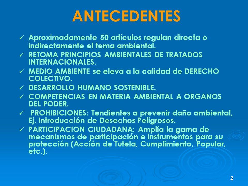 2 ANTECEDENTES Aproximadamente 50 artículos regulan directa o indirectamente el tema ambiental. RETOMA PRINCIPIOS AMBIENTALES DE TRATADOS INTERNACIONA