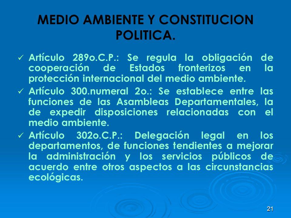 21 MEDIO AMBIENTE Y CONSTITUCION POLITICA. Artículo 289o.C.P.: Se regula la obligación de cooperación de Estados fronterizos en la protección internac