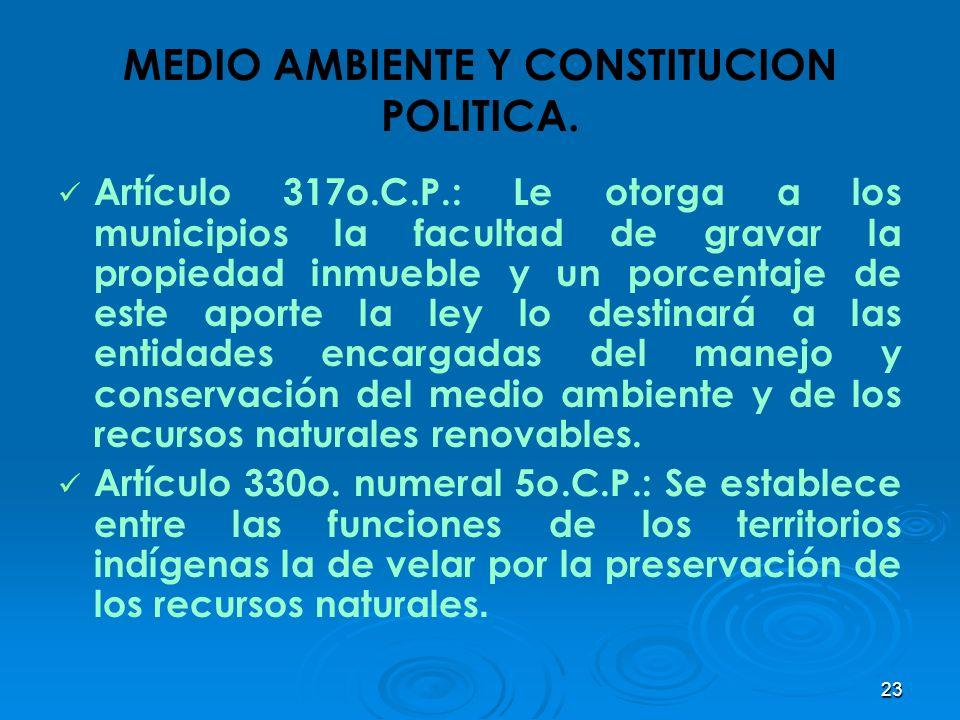 23 MEDIO AMBIENTE Y CONSTITUCION POLITICA. Artículo 317o.C.P.: Le otorga a los municipios la facultad de gravar la propiedad inmueble y un porcentaje