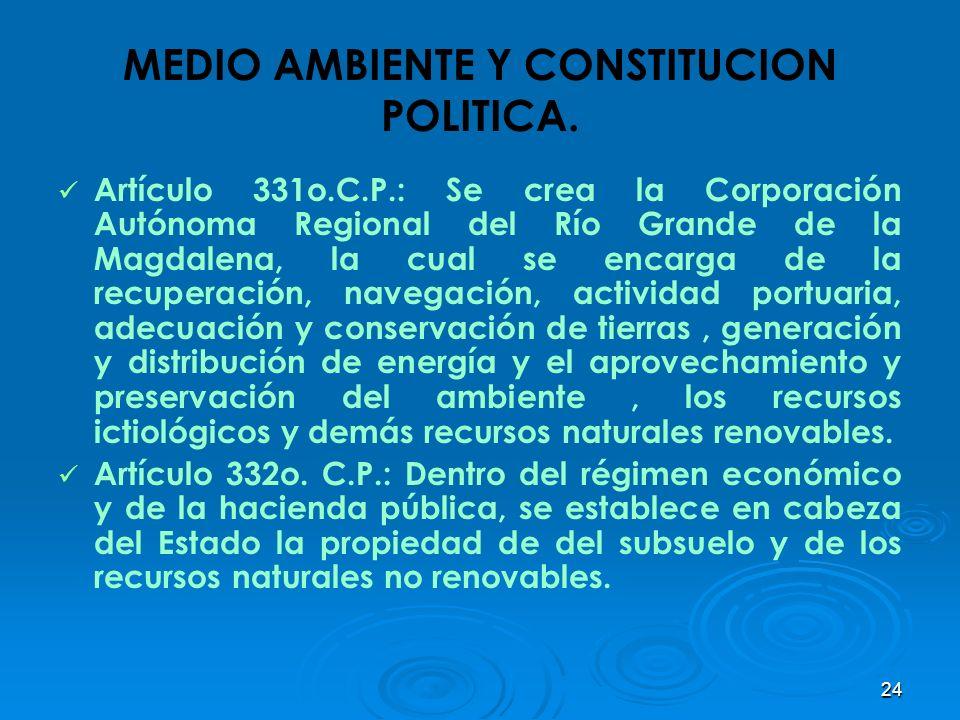 24 MEDIO AMBIENTE Y CONSTITUCION POLITICA. Artículo 331o.C.P.: Se crea la Corporación Autónoma Regional del Río Grande de la Magdalena, la cual se enc