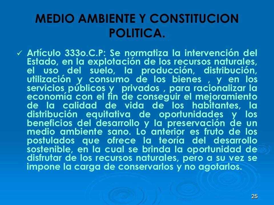 25 MEDIO AMBIENTE Y CONSTITUCION POLITICA. Artículo 333o.C.P: Se normatiza la intervención del Estado, en la explotación de los recursos naturales, el