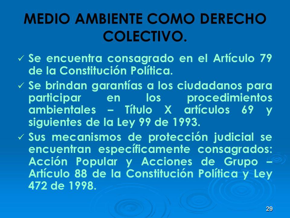 29 MEDIO AMBIENTE COMO DERECHO COLECTIVO. Se encuentra consagrado en el Artículo 79 de la Constitución Política. Se brindan garantías a los ciudadanos