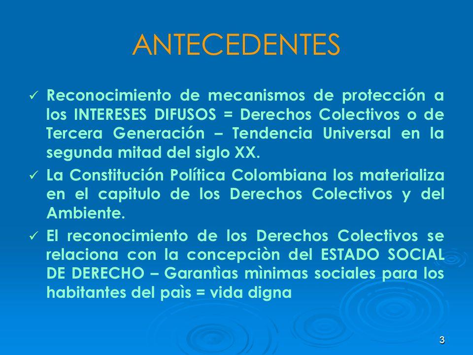 3 ANTECEDENTES Reconocimiento de mecanismos de protección a los INTERESES DIFUSOS = Derechos Colectivos o de Tercera Generación – Tendencia Universal