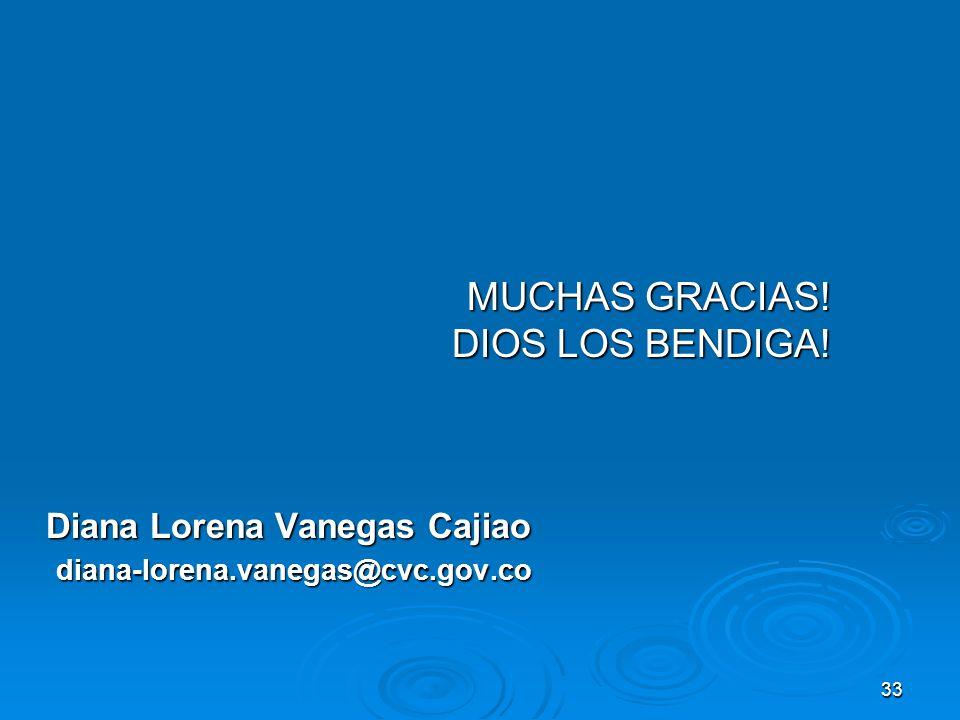 33 MUCHAS GRACIAS! DIOS LOS BENDIGA! Diana Lorena Vanegas Cajiao diana-lorena.vanegas@cvc.gov.co diana-lorena.vanegas@cvc.gov.co