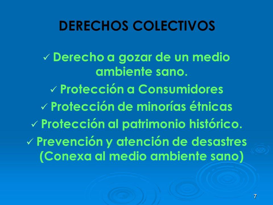 7 DERECHOS COLECTIVOS Derecho a gozar de un medio ambiente sano. Protección a Consumidores Protección de minorías étnicas Protección al patrimonio his