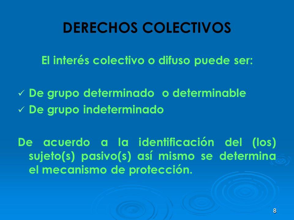 8 DERECHOS COLECTIVOS El interés colectivo o difuso puede ser: De grupo determinado o determinable De grupo indeterminado De acuerdo a la identificaci
