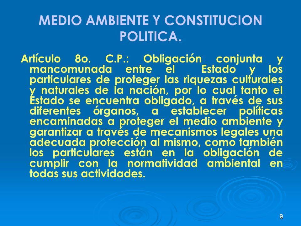 9 MEDIO AMBIENTE Y CONSTITUCION POLITICA. Artículo 8o. C.P.: Obligación conjunta y mancomunada entre el Estado y los particulares de proteger las riqu