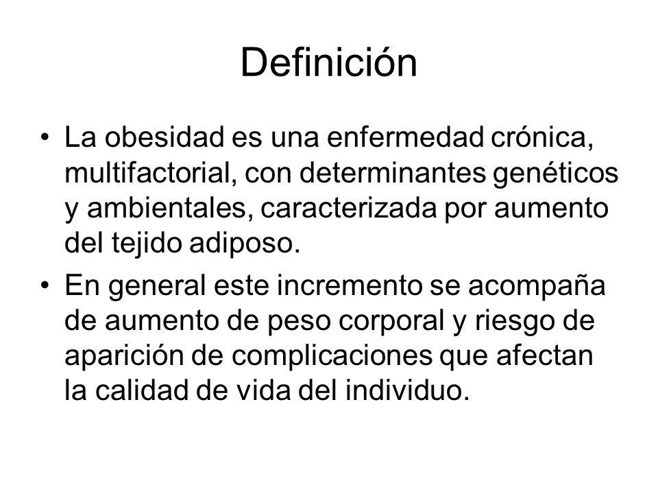 Definición La obesidad es una enfermedad crónica, multifactorial, con determinantes genéticos y ambientales, caracterizada por aumento del tejido adiposo.