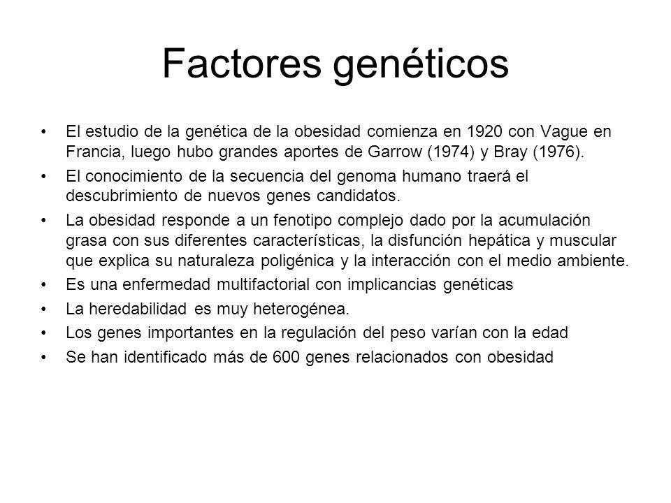 Factores genéticos El estudio de la genética de la obesidad comienza en 1920 con Vague en Francia, luego hubo grandes aportes de Garrow (1974) y Bray (1976).
