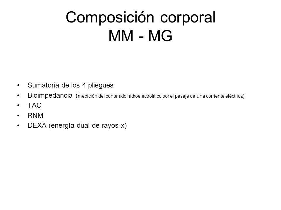 Composición corporal MM - MG Sumatoria de los 4 pliegues Bioimpedancia ( medición del contenido hidroelectrolítico por el pasaje de una corriente eléctrica) TAC RNM DEXA (energía dual de rayos x)