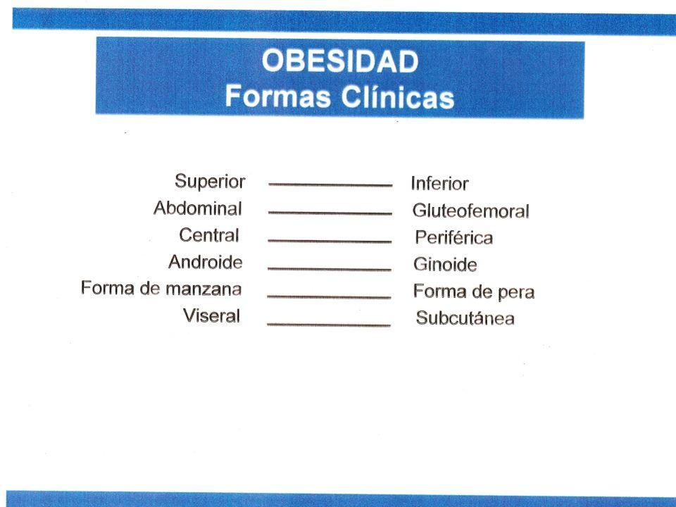 Diagnóstico 1) Obesidades centrales Son aquellas con aumento de grasa en el abdomen (subcutánea y visceral).