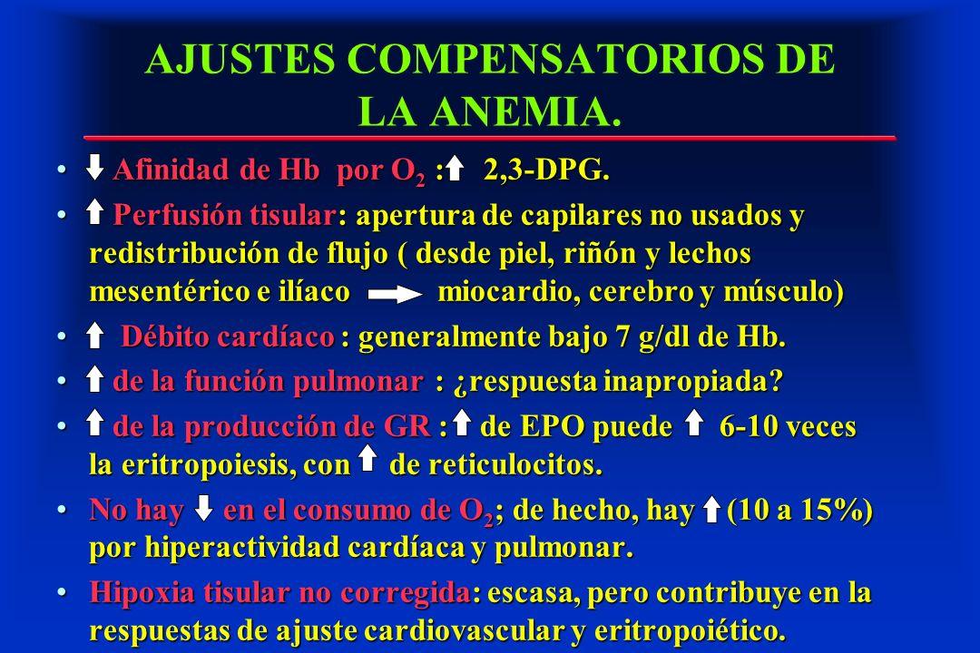 AJUSTES COMPENSATORIOS DE LA ANEMIA. Afinidad de Hb por O 2 : 2,3-DPG. Afinidad de Hb por O 2 : 2,3-DPG. Perfusión tisular: apertura de capilares no u